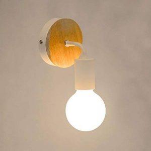 OYGROUP Modern Creative Wood Vintage Lampe de sol en fer forgé E27 40W Applique murale Lampe de lecture Lampe de chevet pour chambre à coucher (Blanc) de la marque OYGROUP image 0 produit
