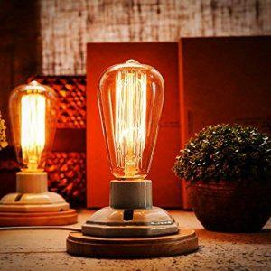OYGROUP Vintage White Ceramics Lampes de table en bois avec interrupteur Dimmable E27 Base (Pas d'ampoule) Lampe de bureau Industrial Dimmable Décor pour la chambre pour salle de séjour Bar Hôtel lampe de table ceramique lampe de bureau retro de la marque image 0 produit