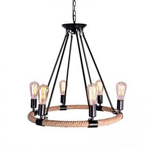 OYI Loft Lustre Vintage Lumières Suspension en Corde de Chanvre Luminaire Industriel Luminaire Intérieur avec 6 Douilles E27 Noir de la marque OYI image 0 produit