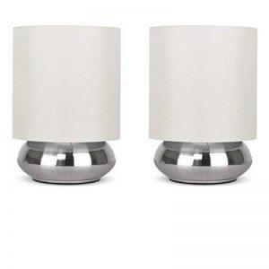 PAIRE - Lampes de Table, Chevet Touch Moderne. Variateur Touch intégré. Chrome Brossé/Nickel avec Abat-Jour en Tissu Crème de la marque MiniSun image 0 produit