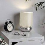 PAIRE - Lampes de Table, Chevet Touch Moderne. Variateur Touch intégré. Chrome Brossé/Nickel avec Abat-Jour en Tissu Crème de la marque MiniSun image 1 produit