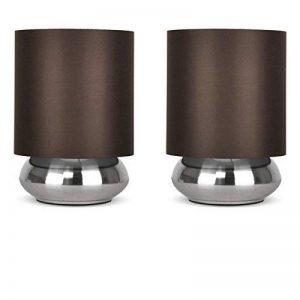 PAIRE - Lampes de Table, Chevet Touch Moderne. Variateur Touch intégré. Chrome Brossé/Nickel avec Abat-Jour élégant en Tissu Marron Foncé de la marque MiniSun image 0 produit