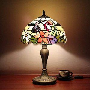Pastoral Colibri Colibri Lampe de chevet en verre style américain 12 pouces de la marque Gweat Tiffany Table Lamp image 0 produit