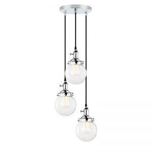 Pathson 3 Luminaire Suspension Vintage Industrielle E27 Eclairage Rétro Plafond Abat-Jour Sphérique en Verre Lampe Plafonnier Pendant Lampe pour Café,Cuisine,Salle à Manger(Ampoule Non Inclus) Chrome de la marque Pathson image 0 produit
