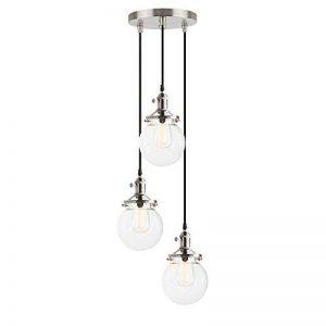 Pathson 3 Luminaire Suspension Vintage Industrielle E27 Eclairage Rétro Plafond Abat-Jour Sphérique en Verre Lampe Plafonnier Pendant Lampe pour Café,Cuisine,Salle à Manger(Ampoule Non Inclus) Argent de la marque Pathson image 0 produit