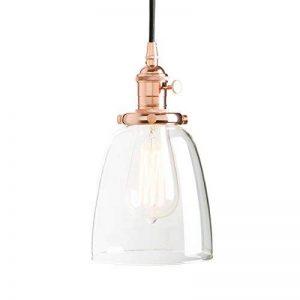 Pathson Suspension Luminaire Vintage Industrielle E27 Eclairage Rétro Plafond Abat-Jour en Verre Lampe Plafonnier Pendant Lampe pour Café,Cuisine,Salle à Manger Cuivre de la marque Pathson image 0 produit