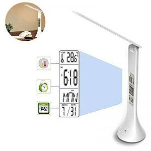 Pawaca Lampe de bureau LED, Pliable Touch-Sensitive Control Lampe de table avec calendrier Horloge Alarm LCD Display USB Rechargeable Lampe de lecture avec protection des yeux de la marque Pawaca image 0 produit