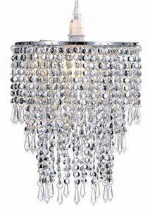 Pendentif 3 niveaux WanEway, abat-jour chandelier de plafond avec gouttelettes bijoux en acrylique, abat-jour en billes avec contour de chrome et billes étincelantes, diamètre 22 cm, chrome de la marque WanEway image 0 produit