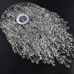 Pendentif 3 niveaux WanEway, abat-jour chandelier de plafond avec gouttelettes bijoux en acrylique, abat-jour en billes avec contour de chrome et billes étincelantes, diamètre 22 cm, chrome de la marque WanEway image 3 produit