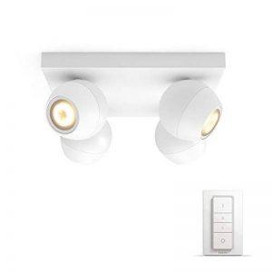 Philips 915005516501 Hue White Ambiance Buckram Spot plafonnier Spirale 4x5.5W - Blanc (télécommande Incluse), Métal, GU10, 5.5 W, 24x24x10.3 cm de la marque Philips image 0 produit