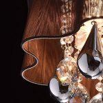 Plafonnier Design Contemporain en Métal couleur Chrome Abat-jour en Fils de Soie Marron décoré de Cristaux pour Salon Chambre 5x40W E14 de la marque MW-Light image 4 produit