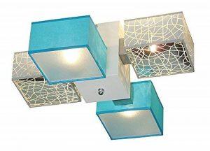 Plafonnier–Design wero barsa-002d–Plafonnier, lampe, bois, ampoules parapluies avec façade, 4lumières (Argent/Turquoise) Mix1 de la marque Wero Design image 0 produit