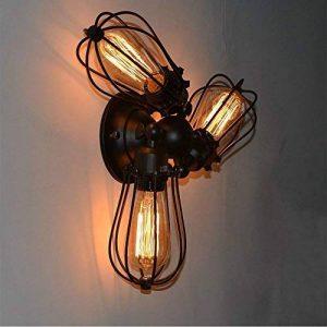 Plafonnier Industriel de 3 tête en fer Lustre E27 Vintage Edison Lampe suspendu Rétro Edison,Abat-jour de Cage de la marque LANTU CREATIVE image 0 produit