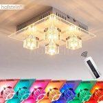 Plafonnier Lalaua en acier brossé - Luminaire à LED multicolores pour chambre - salle de séjour - couloir - Avec la télécommande, l'éclairage halogène ainsi que les LED RGB peuvent être contrôlés de la marque hofstein image 1 produit