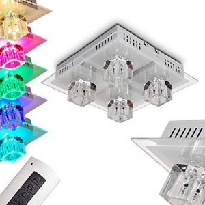 Plafonnier Lalaua en acier brossé - Luminaire à LED multicolores pour chambre - salle de séjour - couloir - Avec la télécommande, l'éclairage halogène ainsi que les LED RGB peuvent être contrôlés de la marque hofstein image 0 produit
