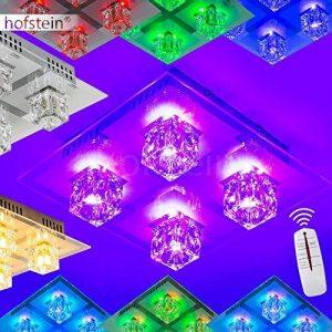 Plafonnier LED 4 spots changement de couleur et télécommande de la marque hofstein image 0 produit
