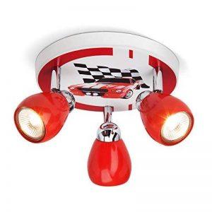 Plafonnier LED Racing, Ø 31 cm, 3x 2.5W GU10 LED incl., 3x 220 lumens, 3000K blanc chaud, métal, rouge/blanc-noir de la marque Lightbox image 0 produit
