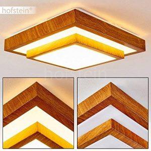 Plafonnier LED Sora carré à 2 niveaux, aspect bois - Lampe LED moderne pour salle de bain, salon, couloir, chambre - Lumière blanc-chaud 1380 Lumen - 18 Watt - 3000K de la marque hofstein image 0 produit