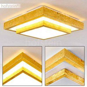 Plafonnier LED Sora carré à 2 niveaux, en or brossé - Lampe LED moderne pour salle de bain, salon, couloir, chambre - Lumière blanc-chaud 1380 Lumen - 18 Watt - 3000K de la marque hofstein image 0 produit