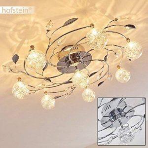 Plafonnier Loviken en métal chromé et verre - Lampe végétale pour salle de séjour - chambre à coucher - couloir - le fil de fer à incrusté dans les globes produit un bel effet de lumière. de la marque hofstein image 0 produit