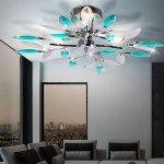 Plafonnier luminaire plafond design feuilles fleurs turquoise salle chrome moderne élégant de la marque Globo image 4 produit