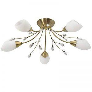 Plafonnier Moderne à 5 Lampes en Métal couleur Laiton avec Abat-jours en Verre Opale Blanc décoré de Cristaux pour Chambre Salle à Manger 5x60W E14 de la marque Demarkt image 0 produit