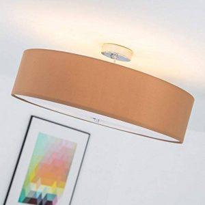 Plafonnier moderne avec abat-jour textile, 3-flammes, Ø 60 cm, 3x E27 max. 60W, Métal / Textile, chromé / brun clair de la marque Lightbox image 0 produit