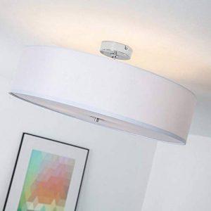 Plafonnier moderne avec abat-jour textile, 3-flammes, Ø 60 cm, 3x E27 max. 60W, Métal / Textile, Chrome / blanc de la marque Lightbox image 0 produit
