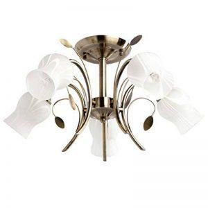 Plafonnier Moderne Floral à 5 Lampes en Métal couleur Bronze Antique avec Abat-jours en Forme de Fleurs en Verre Blanc Mat pour Salon Chambre Salle à Manger 5x60W E14 de la marque Demarkt image 0 produit