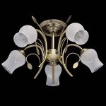 Plafonnier Moderne Floral à 5 Lampes en Métal couleur Bronze Antique avec Abat-jours en Forme de Fleurs en Verre Blanc Mat pour Salon Chambre Salle à Manger 5x60W E14 de la marque Demarkt image 1 produit