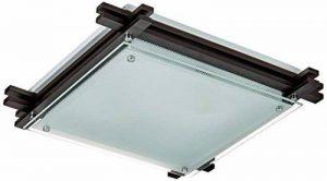 Plafonnier métal bois/sombre, clair satiné, LxLxH:400x400x85, excl. 2xE27 ILLU 60W 230V de la marque Globo image 0 produit