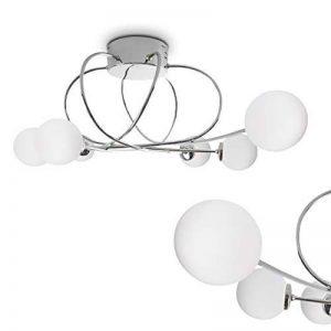 Plafonnier Orbe en métal de couleur chrome et verres opales - Luminaire de plafond pour salons - séjour - salle à manger - chambre à coucher de la marque HOFSTEIN image 0 produit