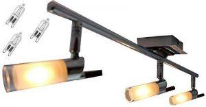 §§ Plafonnier Ou Applique Murale Contemporaine Rail, Rampe Réglette. 3 Spot. Chrome, Acajou & verre Dépolis. Orientable 3 x 40 watt G9 GRATUITE de la marque mdc image 0 produit