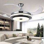 Plafonnier ventilateur silencieux moderne Ventilateur à 4 pales réversibles Lampe LED Variateur à 3 couleurs, Remote Control, 92CM 48W de la marque CACH image 4 produit