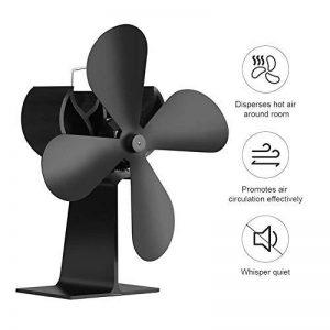 PROKTH Ventilateur pour a poele et Bois - Chaleur alimenté poêle Ventilateur -pour poêles à Bois et cheminées - Pas de Bruit - Alimenté par la Chaleur - Noir de la marque PROKTH image 0 produit