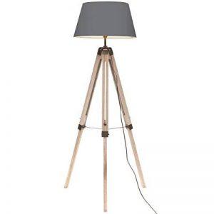 Promobo - Lampe Trépied Design Vintage Rétro Trépied Bois Abat Jour Gris de la marque Promobo image 0 produit
