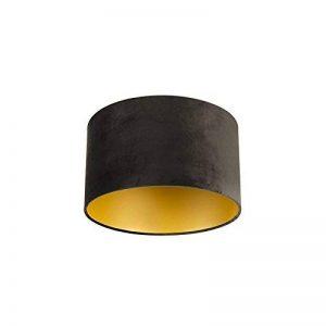 QAZQA Coton Abat-jour velours 35/35/20 noir or, Rond/Cylindrique Abat-jour Lampadaire, Abat-jour Suspendu, Salon de la marque QAZQA image 0 produit