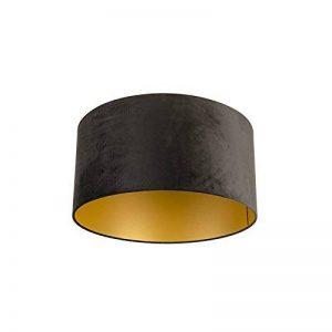 QAZQA Coton Abat-jour velours 50/50/25 noir or, Rond/Cylindrique Abat-jour Lampadaire, Abat-jour Suspendu, Salon de la marque QAZQA image 0 produit