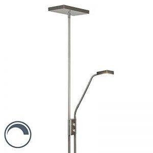 QAZQA Design/Moderne / Lampadaire/Lampe de sol/Lampe sur Pied/Luminaire / Lumiere/Éclairage Jazzy avec liseuse carré staal Verre/Metal / Carré/Oblongue / LED incluses LED (non remplaçabl de la marque QAZQA image 0 produit