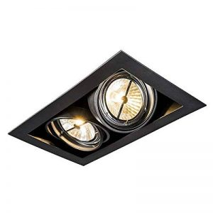 QAZQA Design/Moderne / Spot à encastrer/encastrables Oneon 111-2 noir Metal Rectangulaire Compatible pour LED G53 Max. 2 x 50 Watt/Luminaire / Lumiere/Éclairage / intérieur/Chambre á coucher de la marque QAZQA image 0 produit