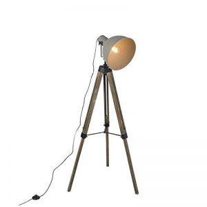 QAZQA Industriel Lampadaire/Lampe de sol/Lampe sur Pied/Luminaire / Lumiere/Éclairage industriel avec trépied en bois avec ombre grise - Laos/Metal / Autres Compatible pour LED E27 Max. 1 x de la marque QAZQA image 0 produit