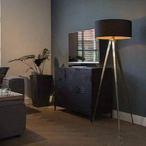 QAZQA Moderne Lampadaire/Lampadaire/Lampe Sur Pied/Lampe/Lampe Tripe/Trépied/trois pieds laiton avec abat-jour noir/éclairage intérieur/salon/chambre/Cuisine Métal/Textile de la marque QAZQA image 0 produit