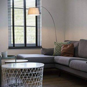 QAZQA Moderne Lampadaire/Lampe de sol/Lampe sur Pied/Luminaire / Lumiere/Éclairage Arc Basic acier avec abat-jour tissu blanc Metal / / Rond Compatible pour LED E27 Max. 1 x 20 Watt/intérie de la marque QAZQA image 0 produit