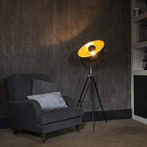 QAZQA Moderne Lampadaire/Lampe de sol/Lampe sur Pied/Luminaire / Lumiere/Éclairage sur trépied Magna noir mat Metal Rond Compatible pour LED E27 Max. 1 x 40 Watt/intérieur / Chambre á couche de la marque QAZQA image 0 produit