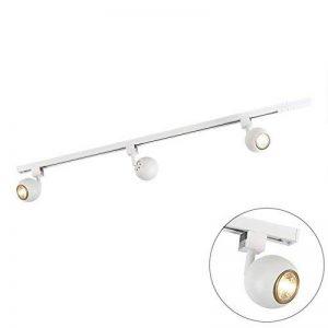 QAZQA Moderne Plafonnier spot Rail Gissi 3 ampoules blanc Aluminium/Metal / Oblongue Compatible pour LED GU10 Max. 3 x 50 Watt/Luminaire / Lumiere/Éclairage / intérieur/Chambre á coucher/Cui de la marque QAZQA image 0 produit