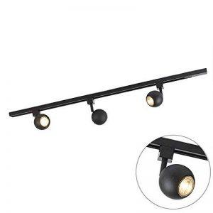 QAZQA Moderne Plafonnier spot Rail Gissi 3 ampoules noir Aluminium/Metal / Oblongue Compatible pour LED GU10 Max. 3 x 50 Watt/Luminaire / Lumiere/Éclairage / intérieur/Chambre á coucher/Cuis de la marque QAZQA image 0 produit