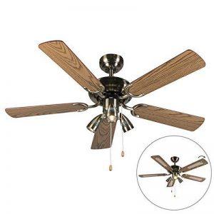QAZQA Moderne Ventilateur de Plafond avec lumiere bronze - Mistral 42 Bois/Metal / Rond Compatible pour LED GU10 Max. 3 x 50 Watt/Luminaire / Éclairage/intérieur / Chambre á coucher/Cuisine de la marque QAZQA image 0 produit