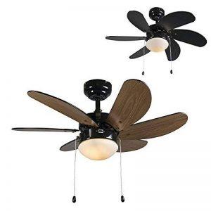 QAZQA Moderne Ventilateur de Plafond avec lumiere Fresh 30 noir Verre / Bois / Metal / Rond Compatible pour LED E14 Max. 1 x 60 Watt / Luminaire / Éclairage / intérieur / Chambre á coucher / Cuisine de la marque QAZQA image 0 produit