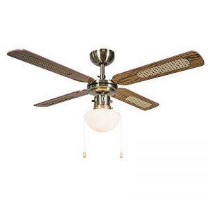 QAZQA Rétro Ventilateur de Plafond avec lumiere bronze - Wind 42 Verre/Bois / Metal/Rond Compatible pour LED E14 Max. 1 x 60 Watt/Luminaire / Éclairage/intérieur / Chambre á coucher/Cuisine de la marque QAZQA image 0 produit