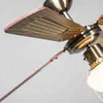 QAZQA Rétro Ventilateur de Plafond avec lumiere bronze - Wind 42 Verre/Bois / Metal/Rond Compatible pour LED E14 Max. 1 x 60 Watt/Luminaire / Éclairage/intérieur / Chambre á coucher/Cuisine de la marque QAZQA image 4 produit